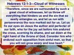 hebrews 12 1 3 cloud of witnesses