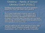 christina family of school literacy coach foslc