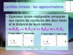 lentilles minces les approximations