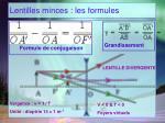 lentilles minces les formules1