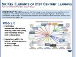 six key elements of 21st century learning from the partnership for 21st century skills1