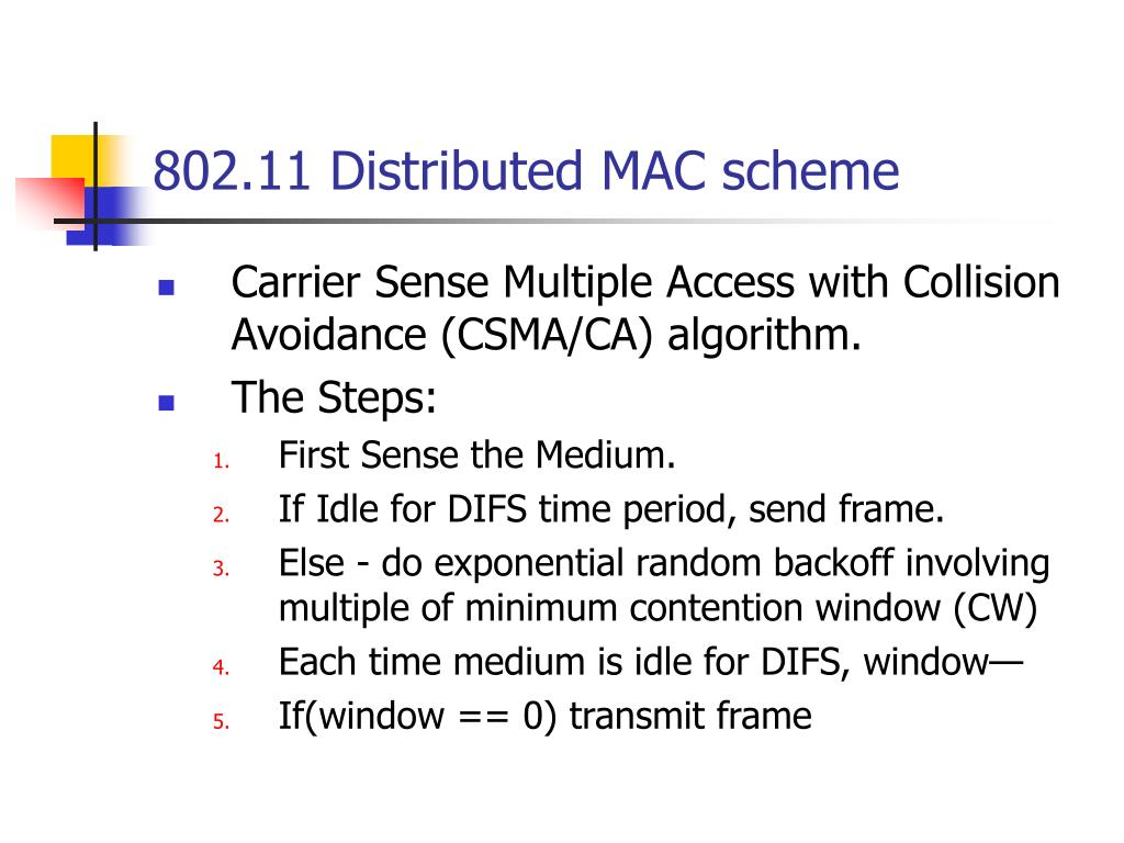 802.11 Distributed MAC scheme