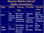 russian mobile internet radio connections