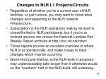 changes to nlr l1 projects circuits
