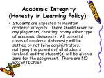 academic integrity honesty in learning policy