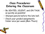 class procedures entering the classroom