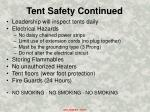 tent safety continued