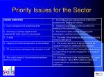priority issues for the sector