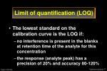 limit of quantification loq