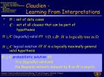 claudien learning from interpretations