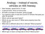 analogy instead of waves vehicles on 405 freeway