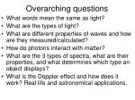 overarching questions