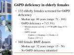 g6pd deficiency in elderly females