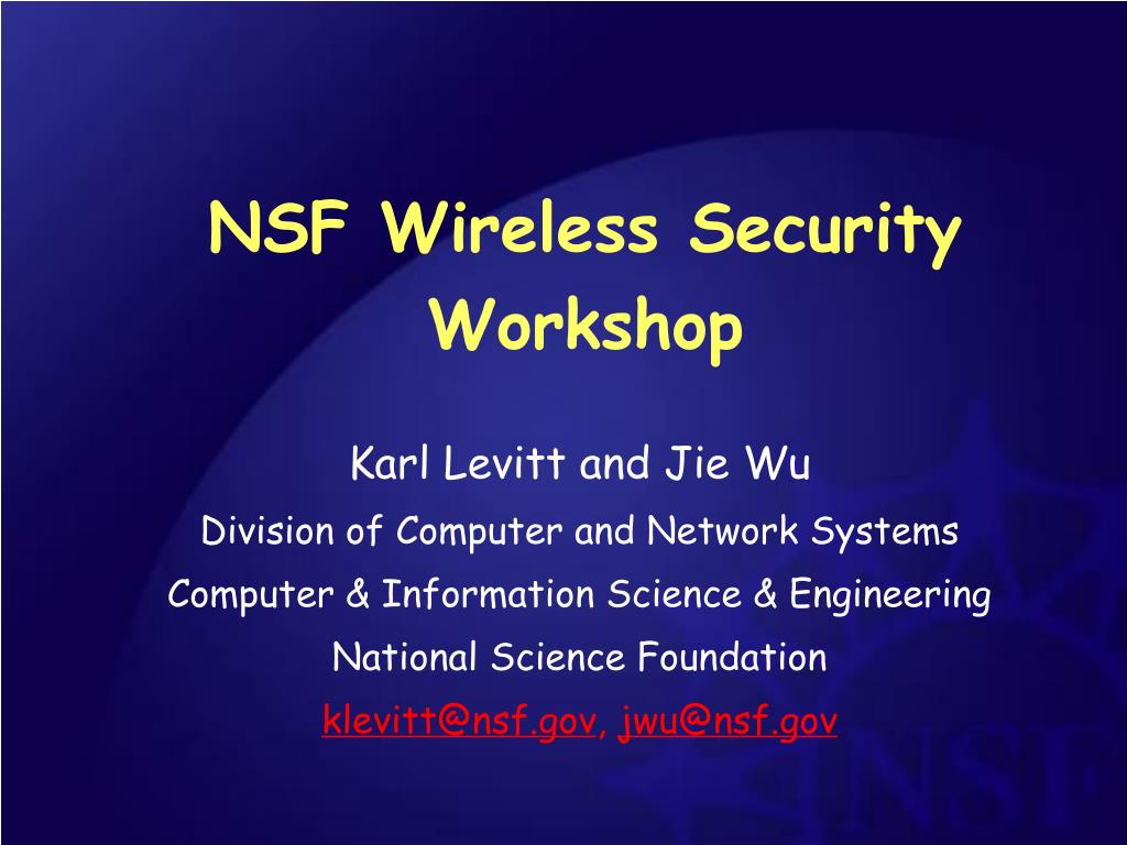 nsf wireless security workshop l.