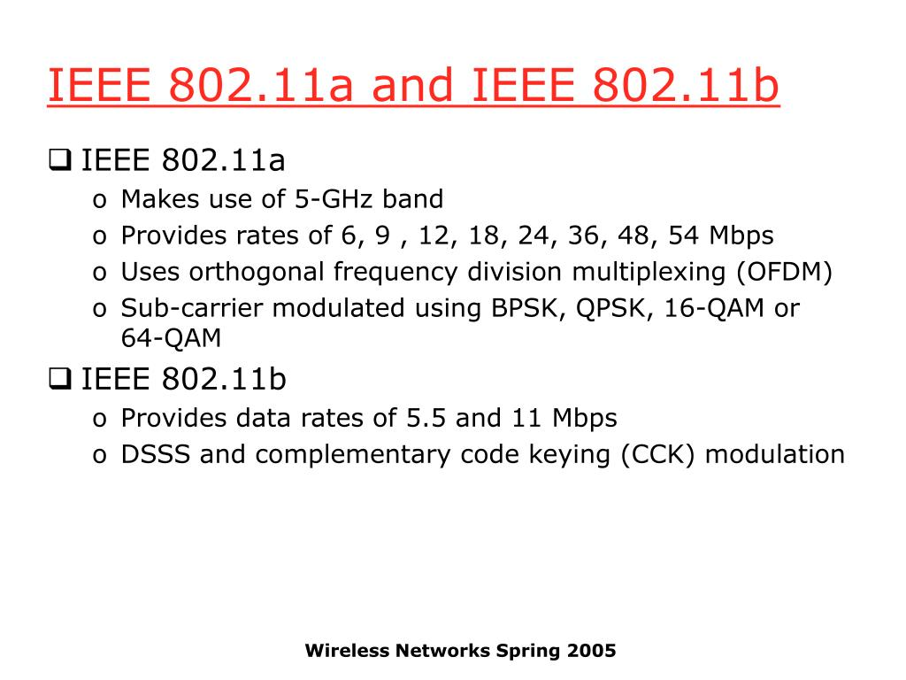 IEEE 802.11a and IEEE 802.11b