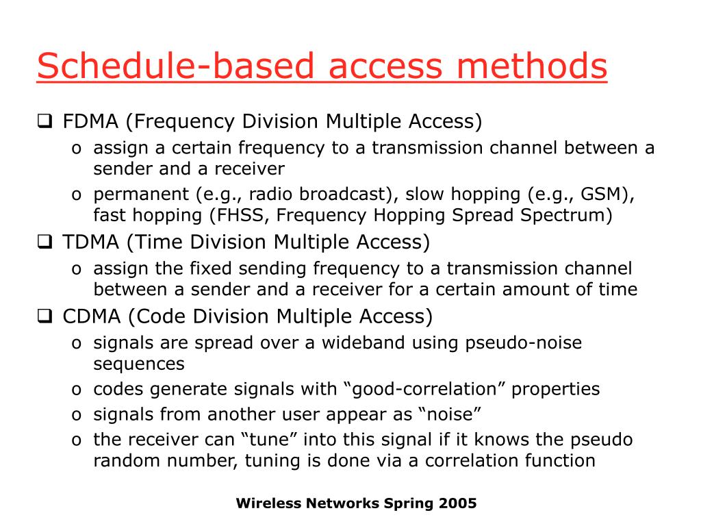 Schedule-based access methods