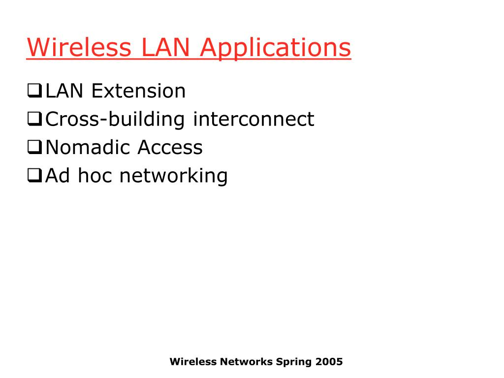 Wireless LAN Applications