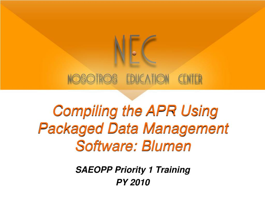 compiling the apr using packaged data management software blumen l.