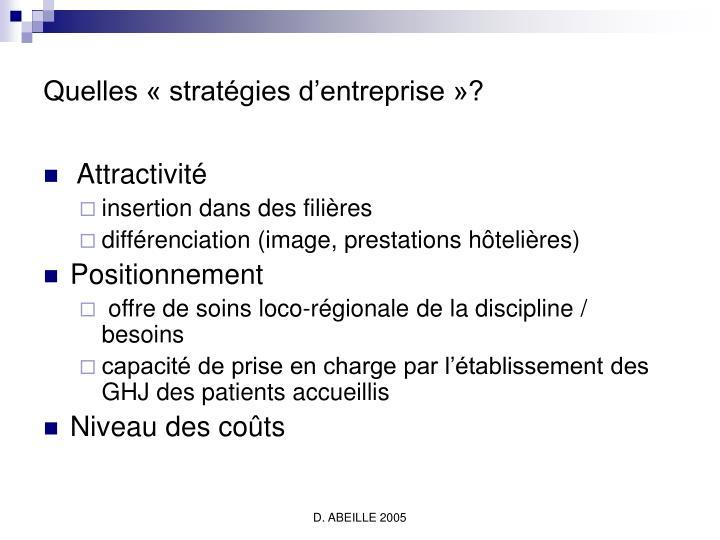Quelles « stratégies d'entreprise »?