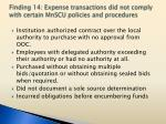 finding 14 expense transactions did not comply with certain mnscu policies and procedures