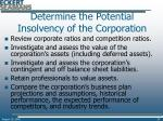 determine the potential insolvency of the corporation