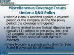 miscellaneous coverage issues under a d o policy