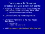 communicable diseases infectious diseases bioterrorism agents