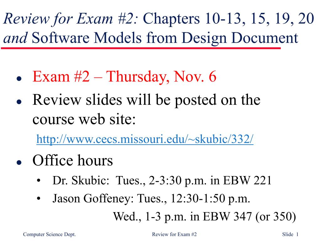 review for exam 2 chapters 10 13 15 19 20 and software models from design document l.