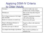 applying dsm iv criteria to older adults