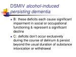 dsmiv alcohol induced persisting dementia