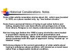 historical considerations notes