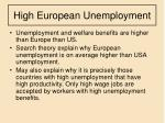 high european unemployment