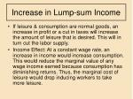 increase in lump sum income