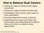 how to balance dual careers