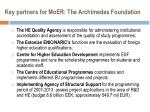 key partners for moer the archimedes foundation