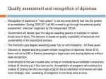 quality assessment and recognition of diplomas
