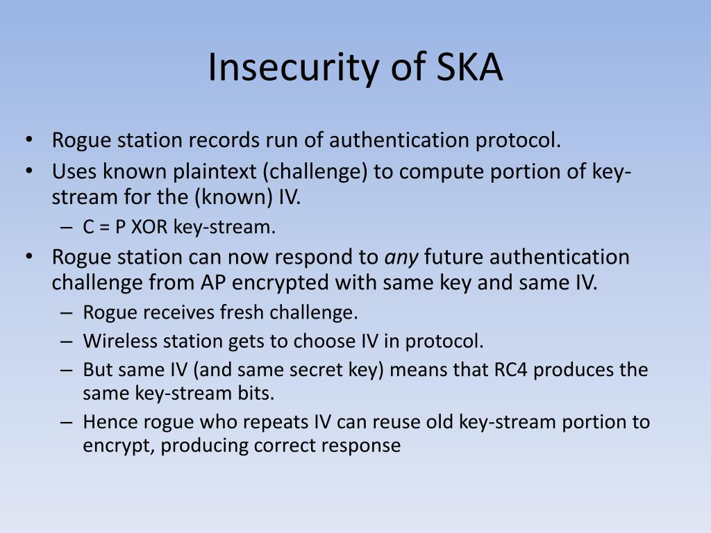 Insecurity of SKA