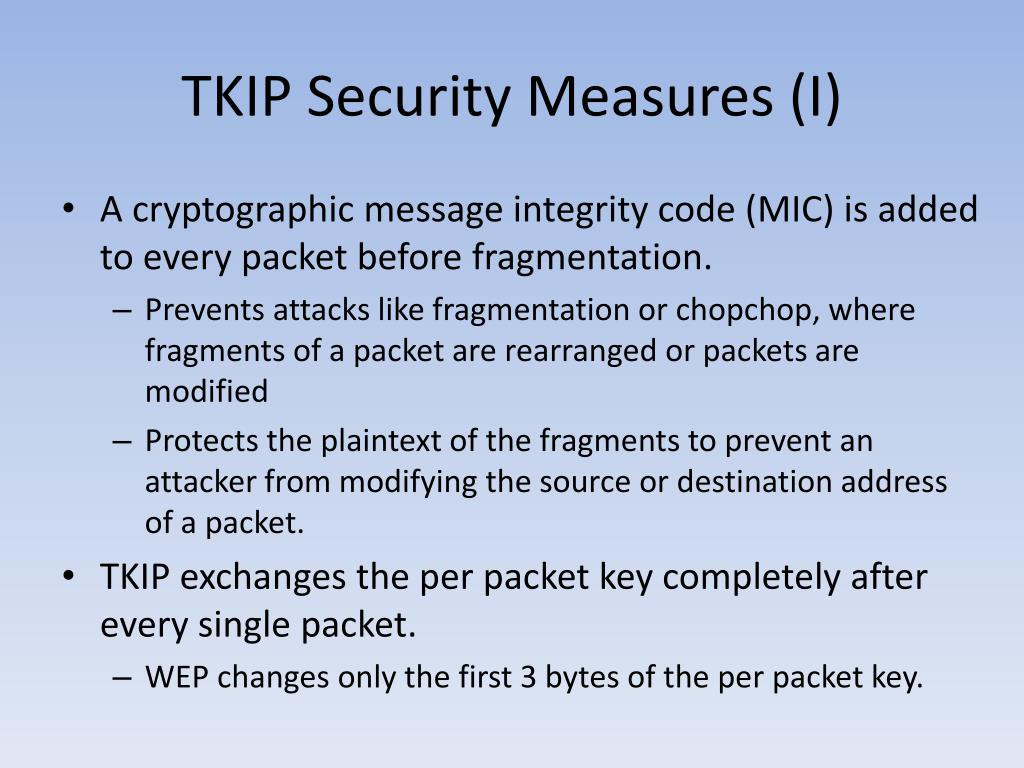 TKIP Security Measures (I)