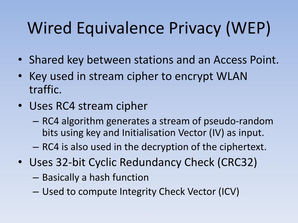 Wired Equivalence Privacy (WEP)