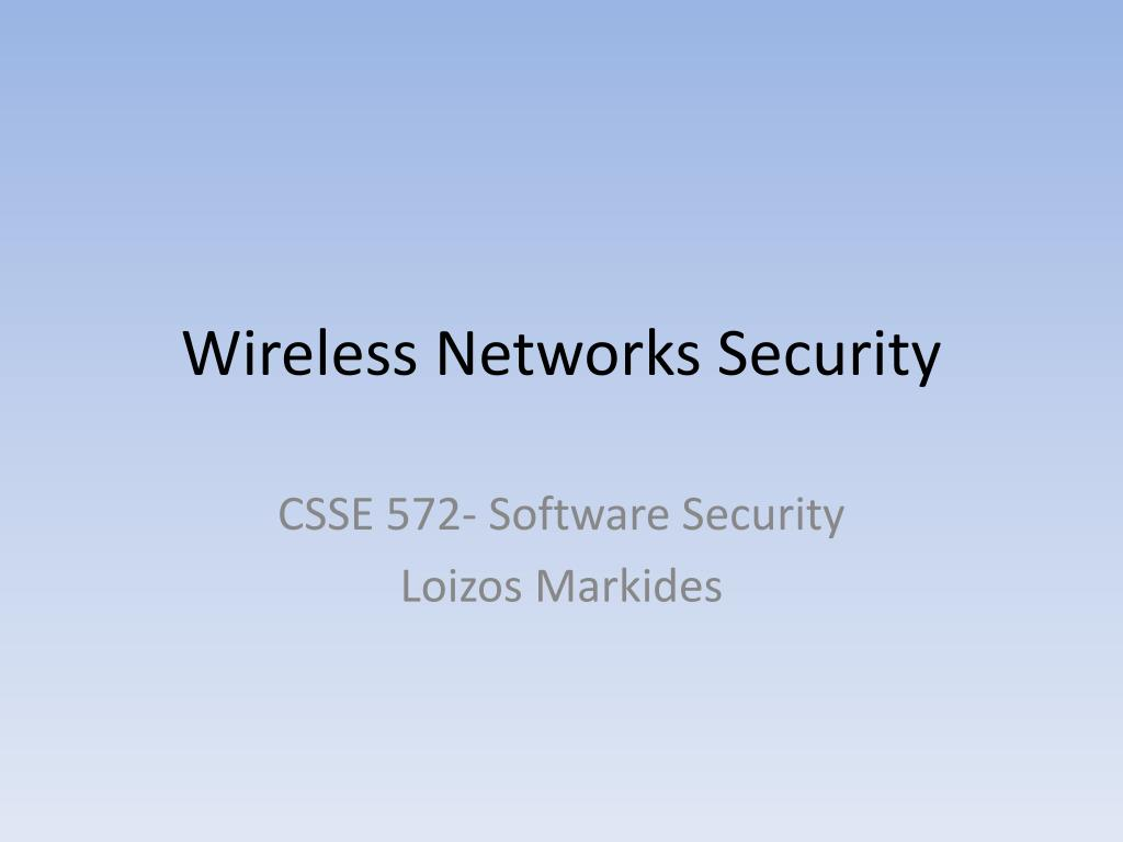wireless networks security l.