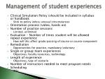 management of student experiences22