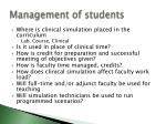 management of students