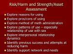 risk harm and strength asset assessment