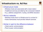 infrastructure vs ad hoc