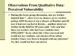 observations from qualitative data perceived vulnerability