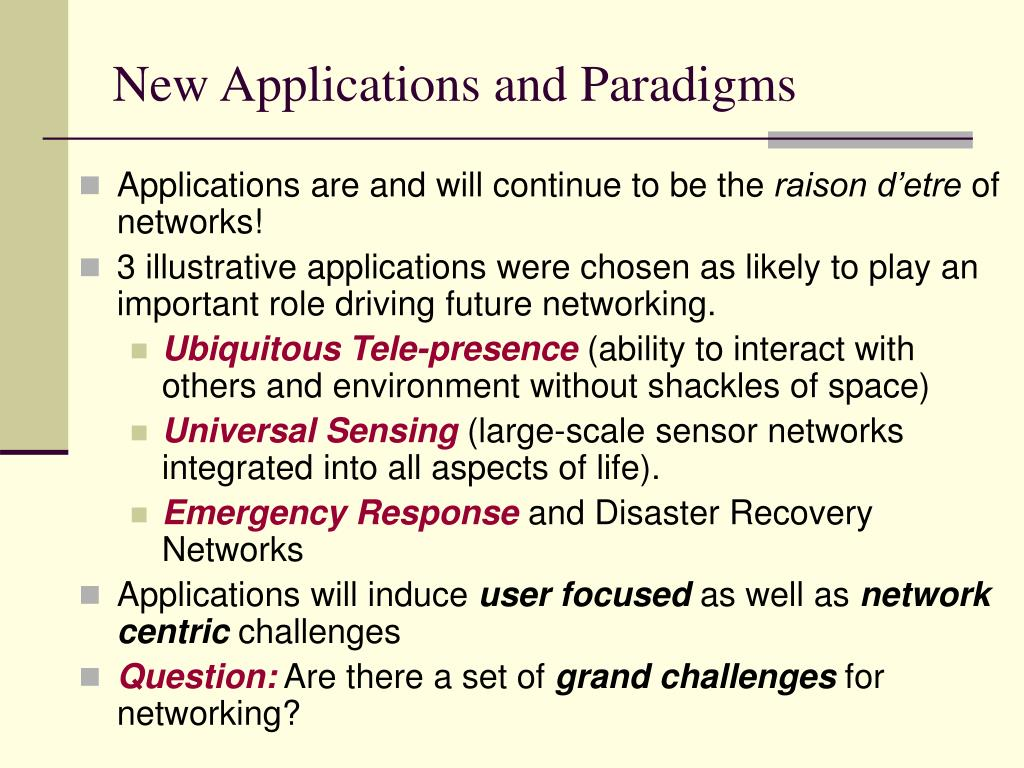 New Applications and Paradigms