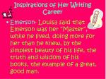 inspirations of her writing career