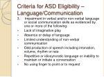 criteria for asd eligibility language communication