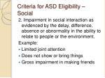 criteria for asd eligibility social