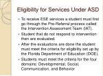 eligibility for services under asd